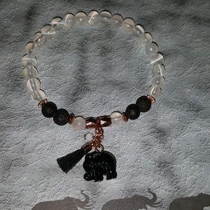 Selenite healing lava stone elephant tassel
